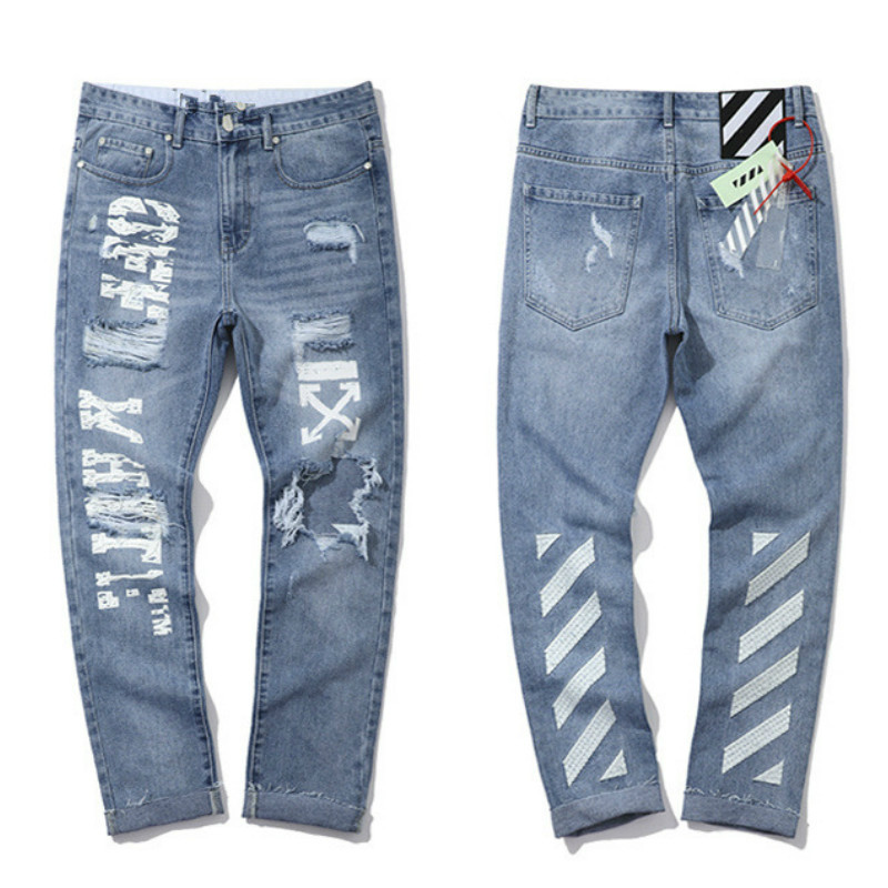 Liser 2019 Jeans Pants Men Streetwear Sweatpants Pantalones Hombre Letter Printing Denim Pants Men  Hip Hop Sweat Pants