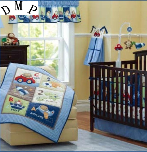 Promotion! 7pcs Embroidery baby bedding set boy Comforter cot quilt sheet bumper ,include (bumpers+duvet+bed cover+bed skirt) promotion 6 7pcs cot bedding set baby bedding set bumpers fitted sheet baby blanket 120 60 120 70cm
