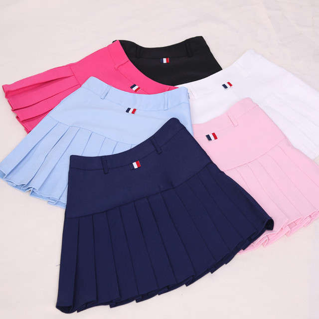 2017 New Spring high waist ball pleated skirts Harajuku Korean girls solid a-line sailor skirt Plus Size Preppy school uniform