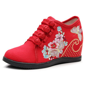 Image 2 - Veowalk Hidden Wedge Women Embroidered Canvas Sneakers, Low Top Denim Cotton Comfort Travel Shoes for Ladies Embroidery Creepers