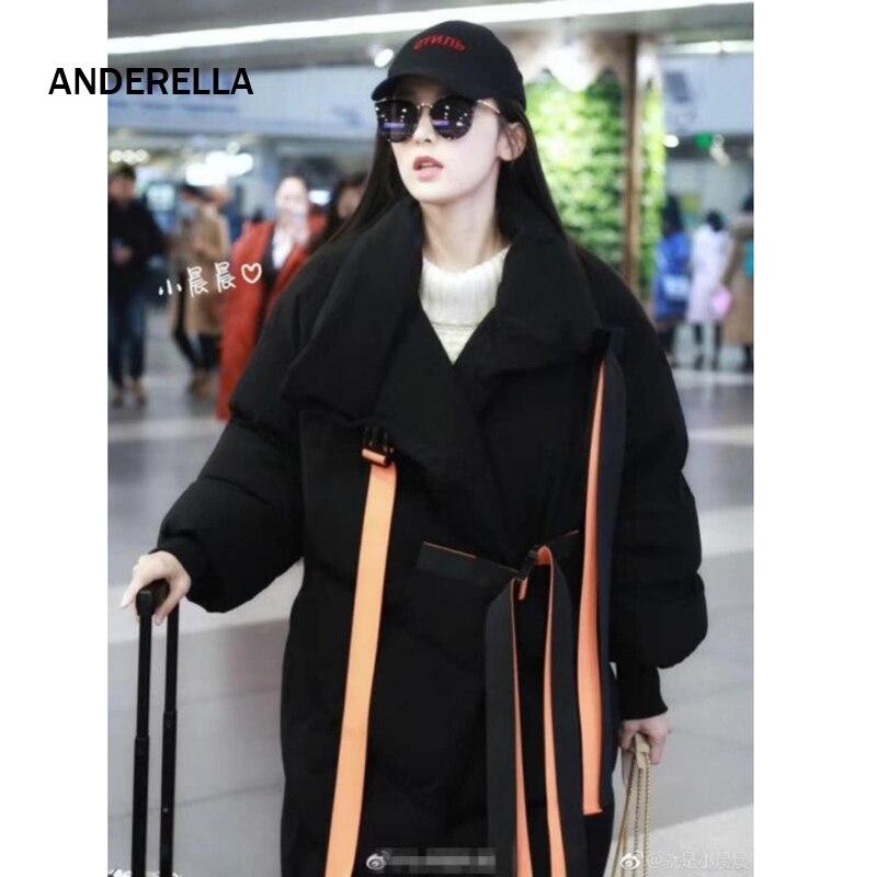 e954d46d8712 Parka Robe Étoiles Vers 2018 Noir D hiver Coton Manches Plume Même Long  Style Femme Bas Chaud Grande Le Taille Populaire Veste argent Col Stand  Femmes ...
