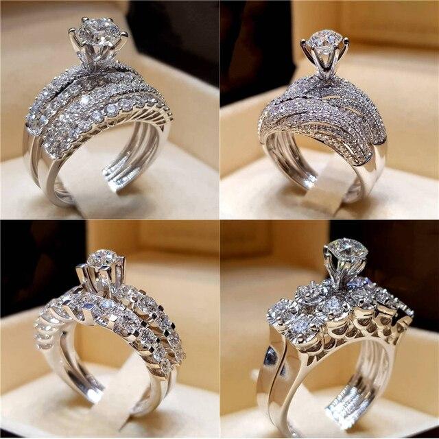 Modyle 2019 Nova Moda Jóias 2 pçs/set Marca Cor Prata Conjunto Anel de Cristal de Zircão de Casamento Anéis de Noivado para As Mulheres