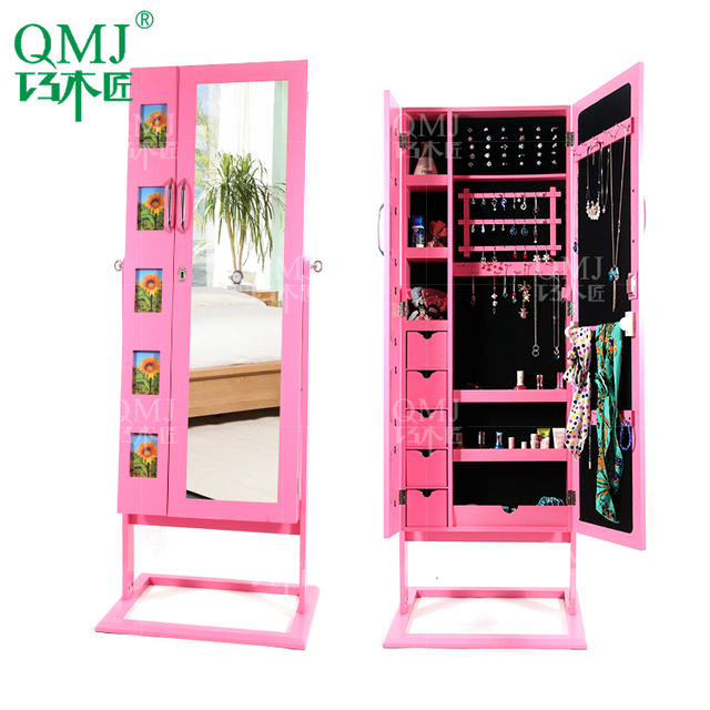 Nieuwe luxe grote staande spiegel sieraden kast met roze muur ...