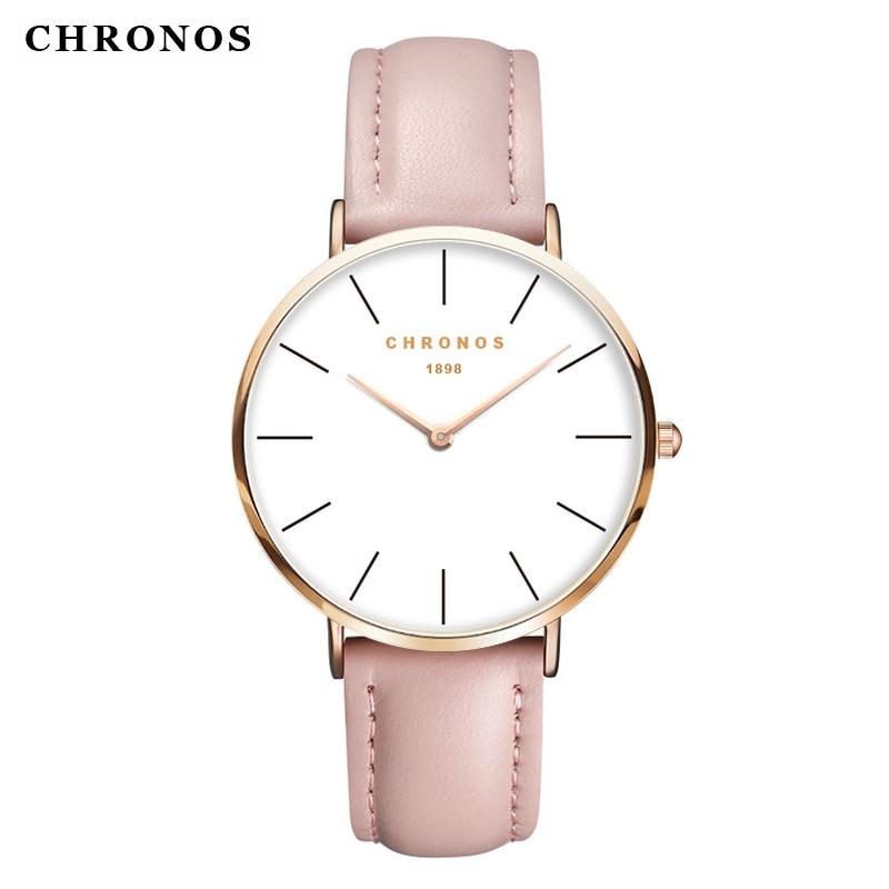 CHRONOS Watches Men Women Fashion Casual Sport Clock Classical Leather Quartz Wrist Watch Rose Gold