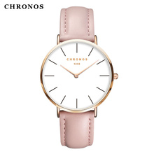 CHRONOS Watches Men Women Fashion Casual Sport Clock Classical Leather Quartz Wrist Watch Rose gold