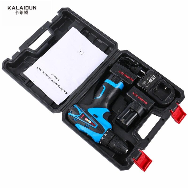 KALAIDUN 25 V perceuse électrique outils électriques tournevis électrique Lithium 2 * batterie perceuse à percussion sans fil avec boîte à outils supplémentaire