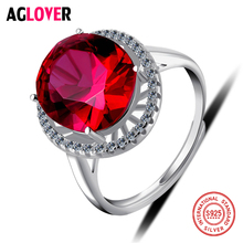 Wedding Jewelry 925 Sterling Silver Rings Woman Attractive Ruby Crystal Rings Gift of Love leige jewelry ruby vintage rings ruby rings july birthstone emerald cut red stone rings real 925 sterling silver elegant rings