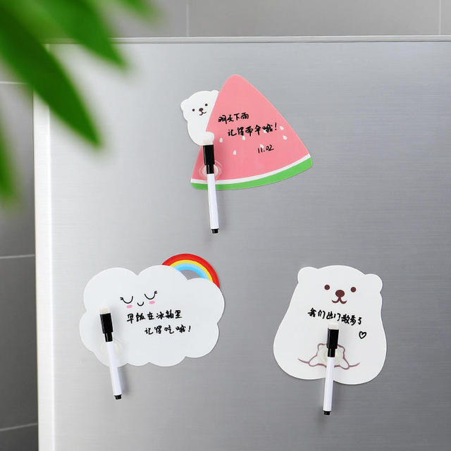 1 Set Cute Rewritable Message Board With Pen Paste Refrigerator Sticky Notes Wall Fridge Decorative Message Sticker Home Decor