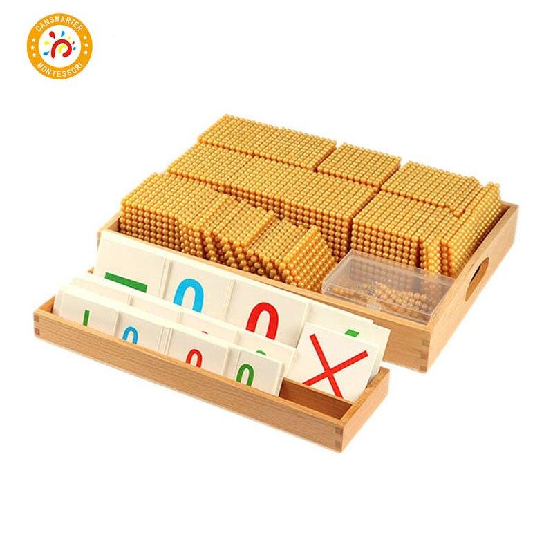 Монтессори дети игрушки Математика деревянный Золотой Пластик бусинами Копилка Игры развивающие Учим цифры древесины математические игру