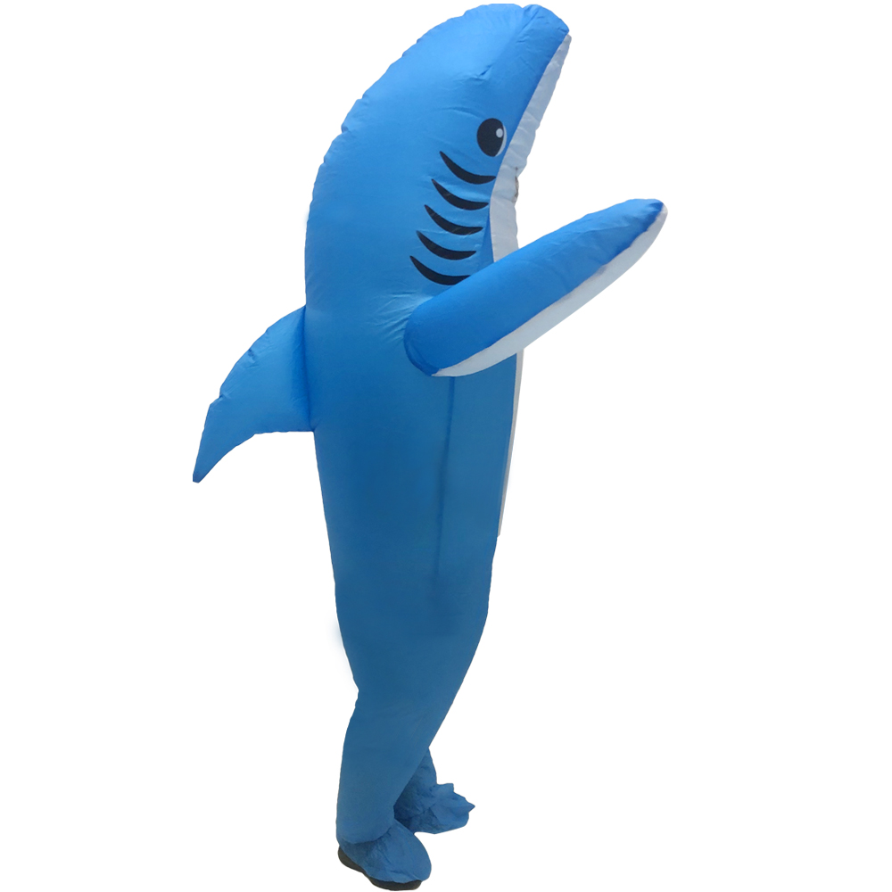 New Cute Shark Blue Shape Inflatable Clothing Stage Cosplay Inflatable Clothes Funny Cartoon Doll Shape Clothes With Blower