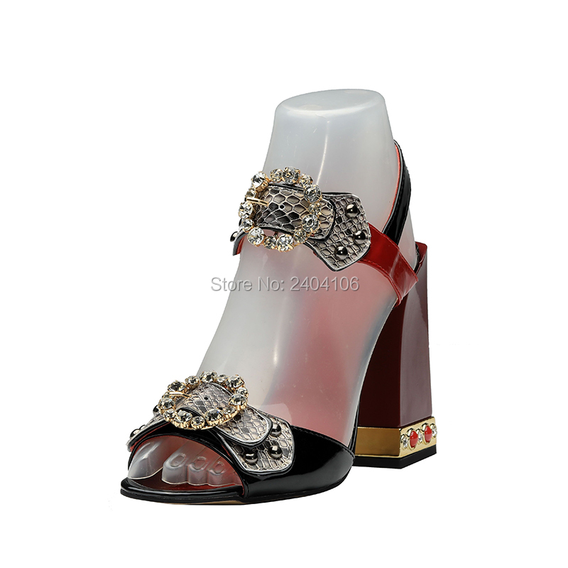 Shooegle Designer Women Luxury Summer Shoes Patent Leather Block Heels Sandles Crystal Buckles Rivets Studded Jewelled Sandals