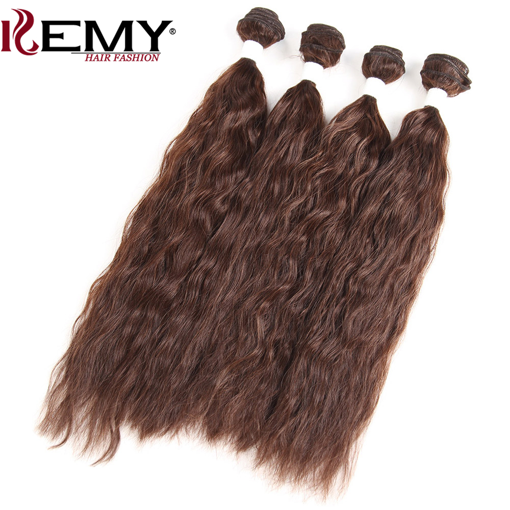 KEMY HAIR Natural Wave Synthetic Hair Weaving 16*2 18*2 4 Piece one Pack High Temperature Fiber Synthetic Hair Extension