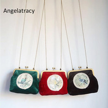 Angelatracy 2018 Vintage Bird Animal Print Lace Floral Clasp Chain Metal Frame Velvet Crossbody Womens Shoulder Totes Shell Bag