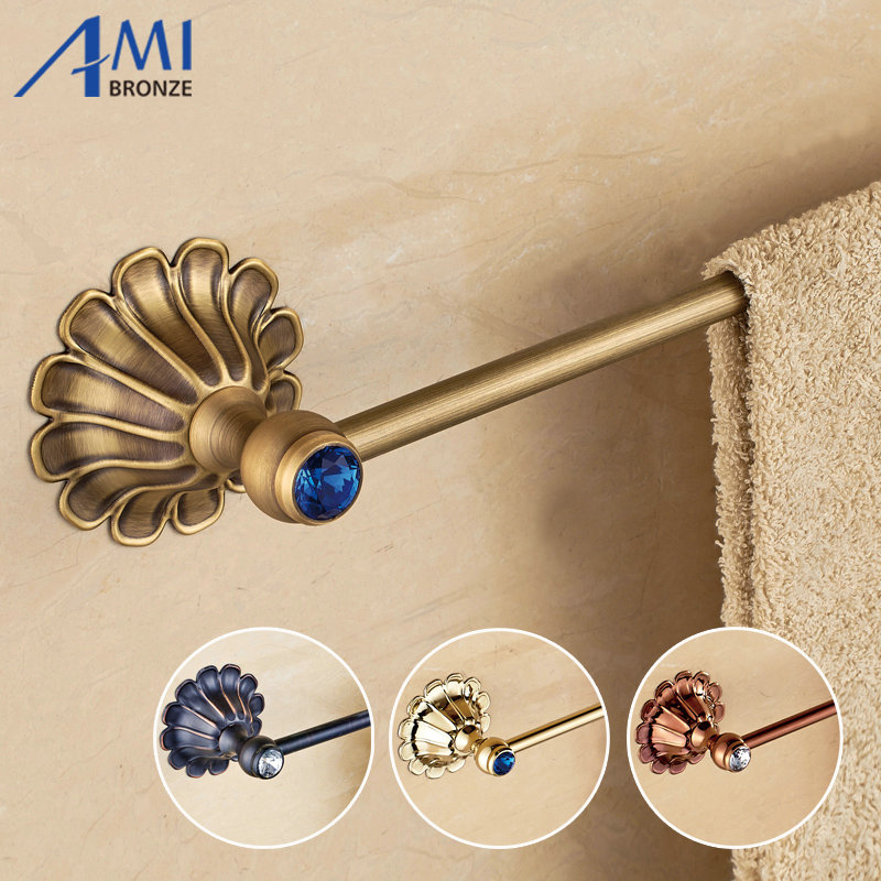 12-Petals Series Antique/Gold/Black/Rose Brass Single Towel Bar Wall Mounted Bathroom Accessories Towel Rack Towel Shelf aluminum wall mounted square antique brass bath towel rack active bathroom towel holder double towel shelf bathroom accessories