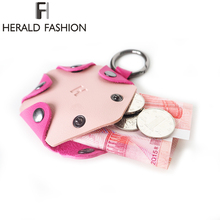 Фотография Herald Fashion 2017 New Design&Brand Women Mini Wallets Geometric Small Coin Purse For Girls Casual Women Bag Female Round Purse