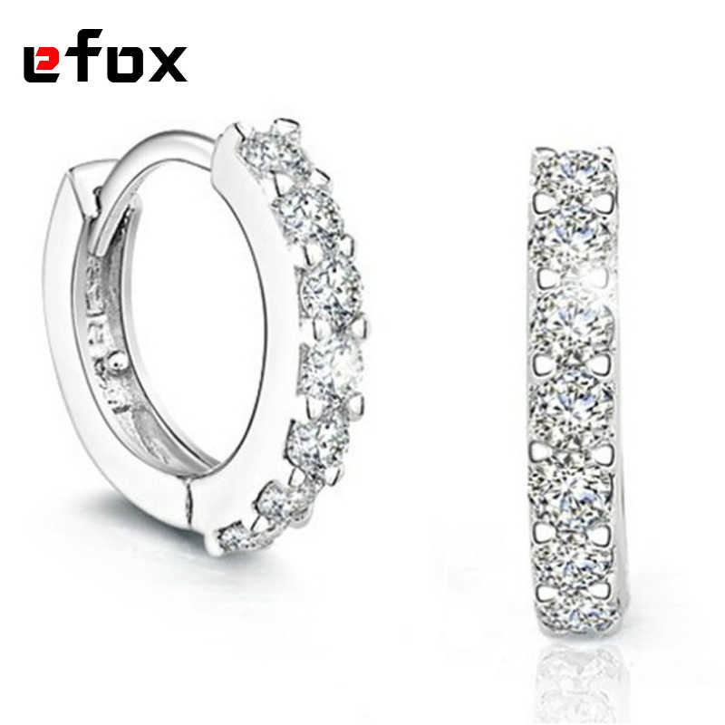 Hot Sale 925 Sterling Silver Earrings For Women Crystal Fashion Wedding Jewelry Ladies Hoop Earrings