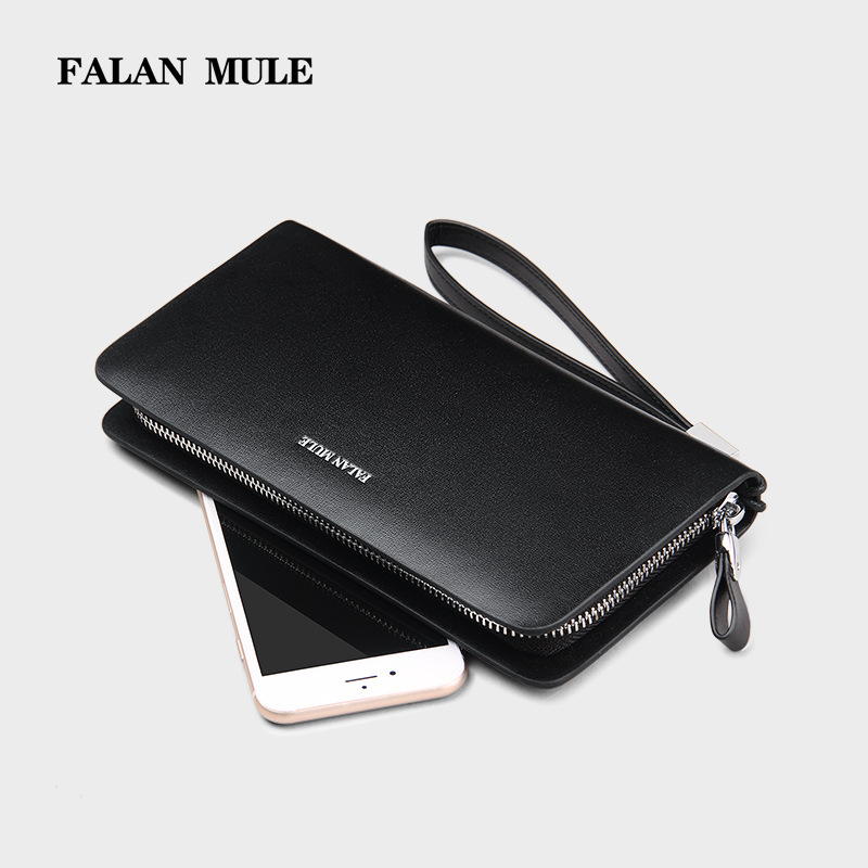 FALAN MULE Business Men Wallets Long Wallet Cow Leather Purses Fashion Male Purse Clutch Handy Bag For Money/Coin/Phone/Clips 2016 famous brand new men business brown black clutch wallets bags male real leather high capacity long wallet purses handy bags