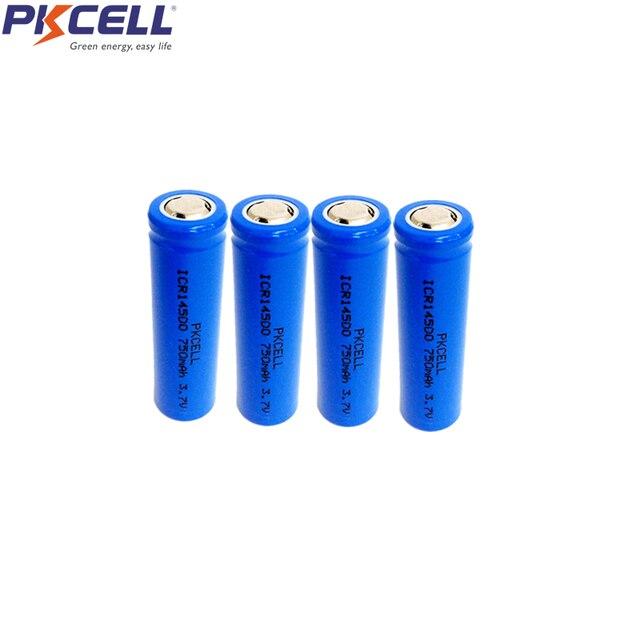 4 piezas AA Liion batería recargable 3,7 V ICR14500 Li-Ion baterías de litio 14*35MM para linterna de LED, faro mecánica mod