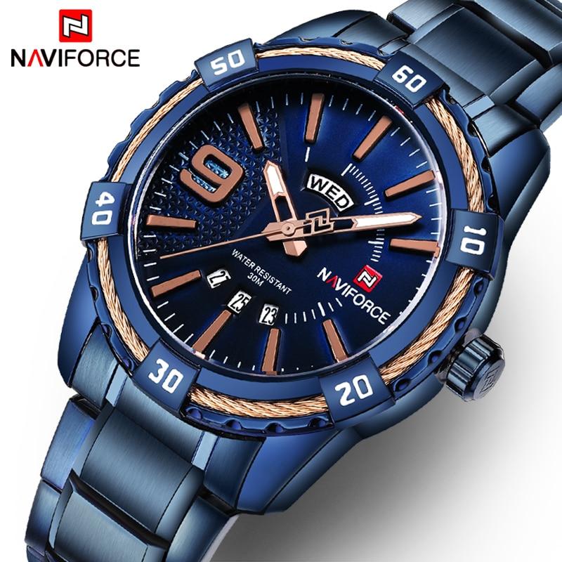 NAVIFORCE Watches Men Luxury Brand Sport Full Steel Quartz Wristwatches Mens Waterproof Military watches relogio masculino+gift