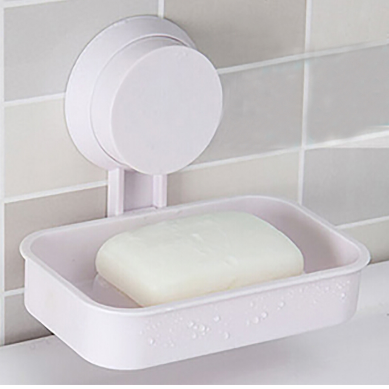1PCS Soap Dish Strong Suction Cup Wall Tray Holder Storage Box Bathroom Shower Tool 4 Colors