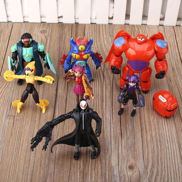 Lote de 8 pcs big hero 6 figura brinquedo hiro, Baymax, fred lemon maravilha bebê crianças xmas