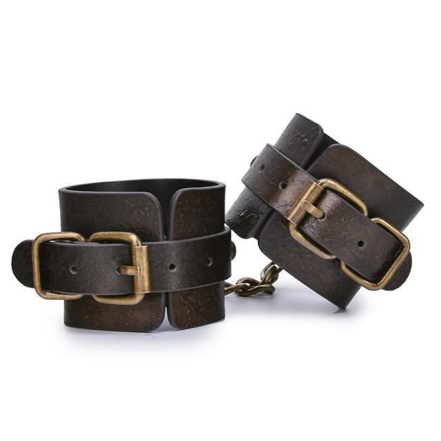 Коричневые винтажные наручники из натуральной кожи для секса, наручники для бондажа, наручники для рук, игры для взрослых, секс игрушки для женщин, пар