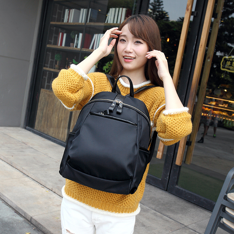 Women black backpacks all match school bags books student satchel Oxford girls bag
