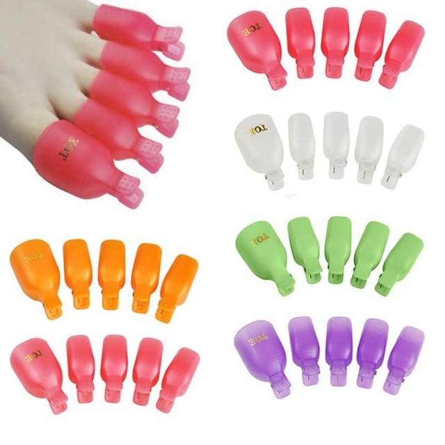 Pro Nail Art Tools For Women 5pcs Plastic Foot Toe Nail Soak Off Cap