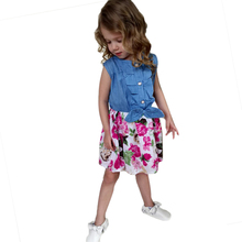 Summer Baby Girls Dress Kids Bowknot Denim Flowers Printed Floral Dress Grils Princess Party dresses Child's Clothes