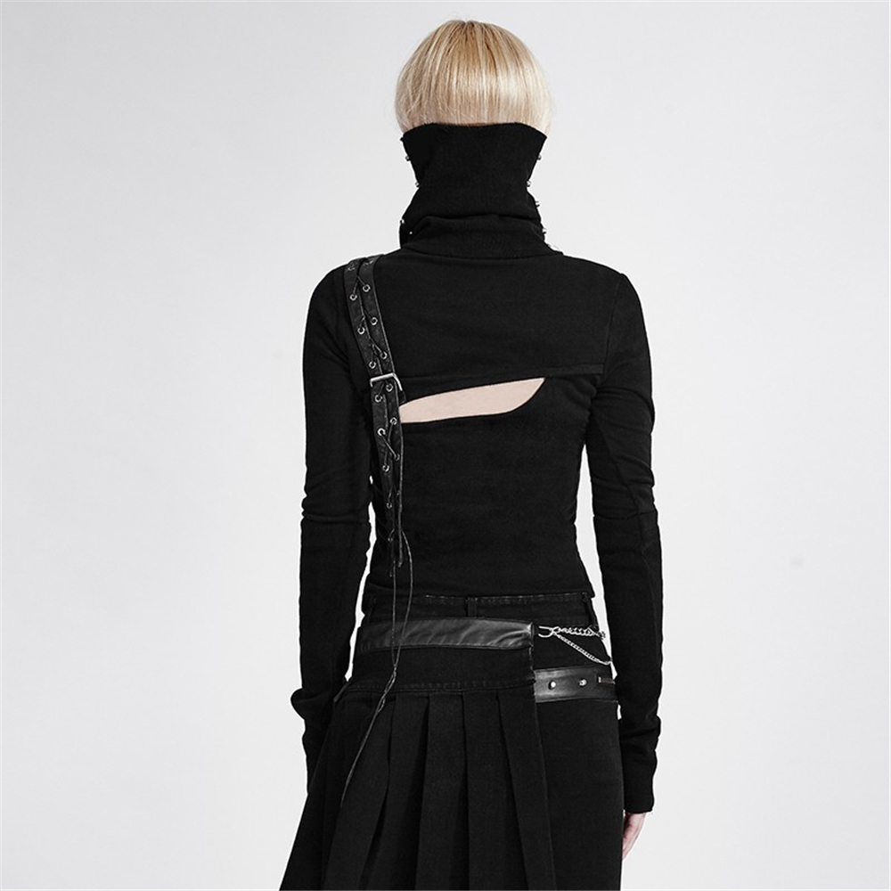 Punk High Neck Backless asymmetrische Stricken weibliche krieger T shirt Nieten pu leder schwarz Maske Stil Langarm T shirt Tops - 3