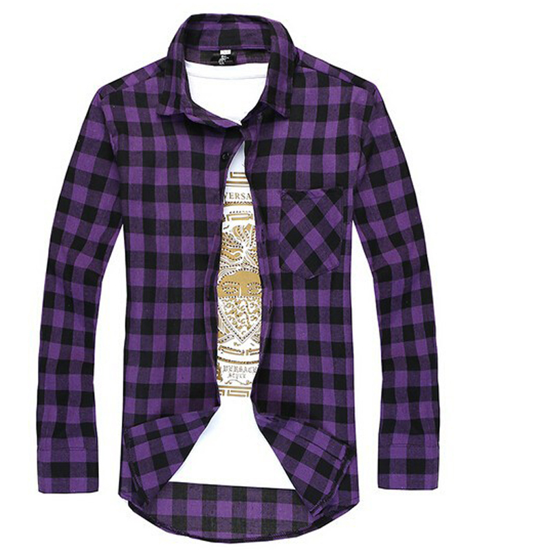 fbca3572bb Casual Plaid Shirt Men Long Sleeve Social Checkered Dress Shirts Slim Fit  Red Cheap Male Clothing Camisetas Xadrez Masculina-in Casual Shirts from  Men s ...