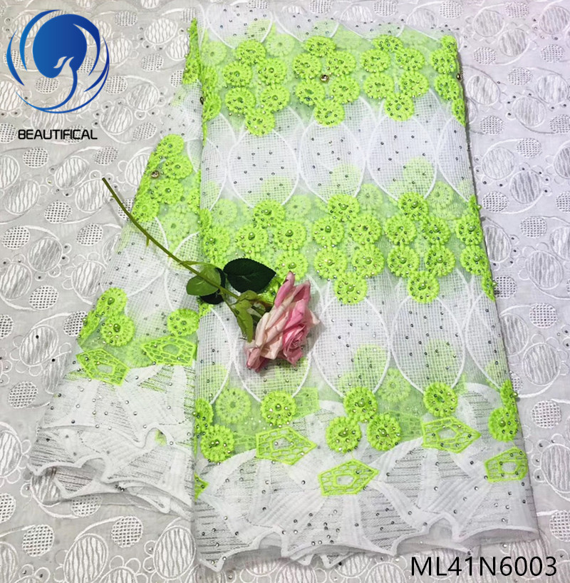 BEAUTIFICAL light green french net lace french lace tulle fabric milk silk lace fabrics with beads and rhinestones ML41N60BEAUTIFICAL light green french net lace french lace tulle fabric milk silk lace fabrics with beads and rhinestones ML41N60