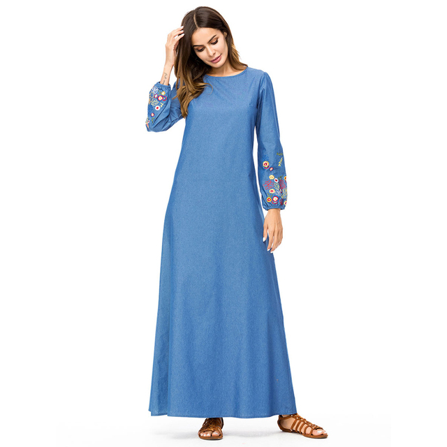 d384e170476 MISSJOY New Fahion muslim clothing dubai Women Long Sleeve Denim Abaya  Embroidery flower Patchwork turkey islamic Maxi dress