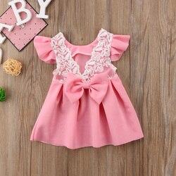 Pudcoco/платье для маленьких девочек платья принцессы с кружевным бантом и открытой спиной для маленьких девочек вечерние платья-пачки на свад...
