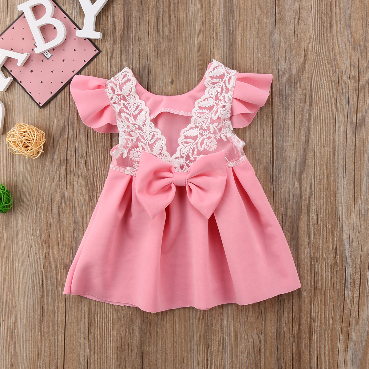 Pudcoco Baby Girls Dress Toddler Girls Backless Lace Bow Princess Dresses Tutu Party Wed ...