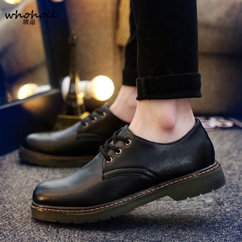 WHOHOLL Oxfords Men Genuine Leather Brand Spring Autumn Men's Formal Leather Shoes Dress Biritsh Vintage Retro Shoe Elegant