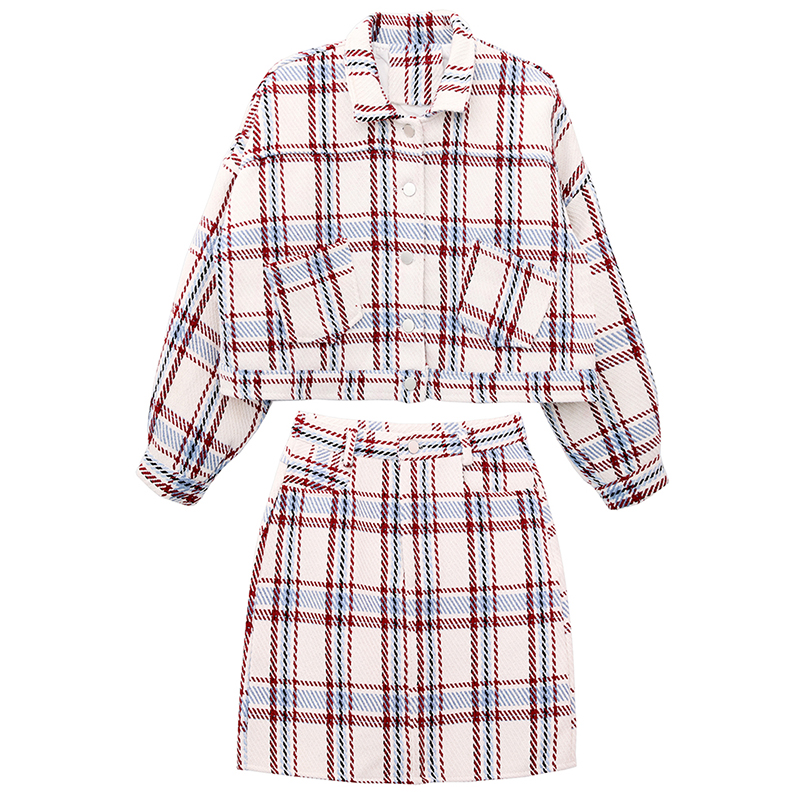 New Designer Sweet Elegant Shorty Ladies Autumn Spring Two Pieces Sets Work Clothing Women Plaid Slim