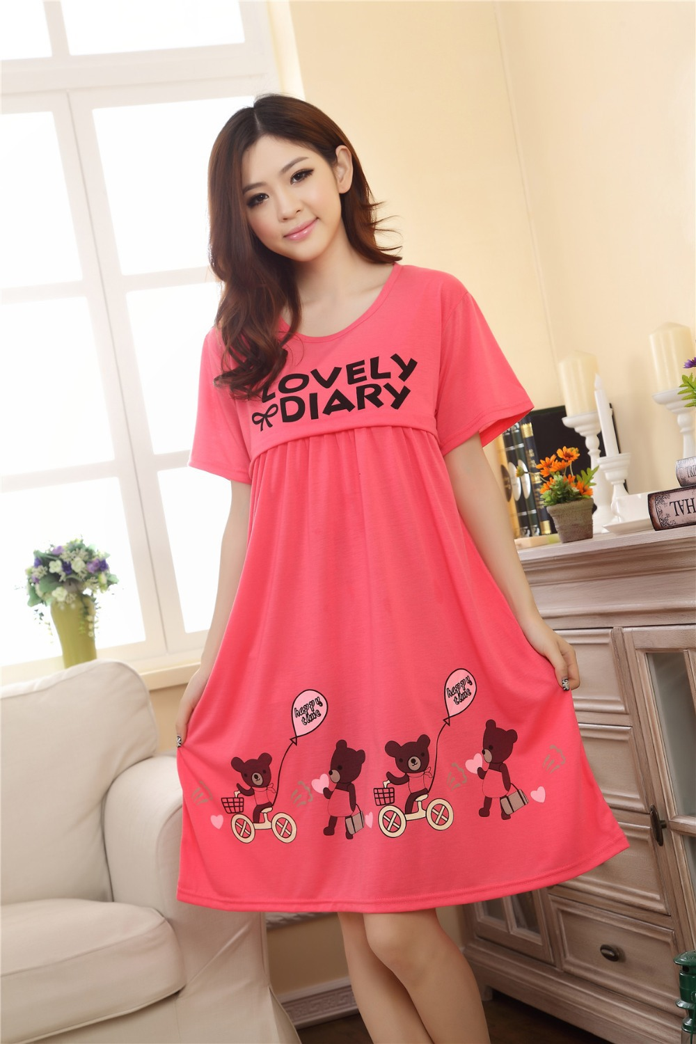 ef9979f361fee Loose summer Red sleepwear for pregnant women maternity dress pregnancy  gravidity nursing nightgown clothes breast feeding tops-in Dresses from  Mother ...