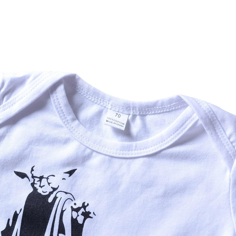 Odzież dziecięca Witaj Dark Side Cartoon Print Romper Biały - Odzież dla niemowląt - Zdjęcie 3