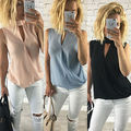New Fashion Women Ladies V-Neck Sleeveless Blouse Summer Chiffon Casual Loose Tops