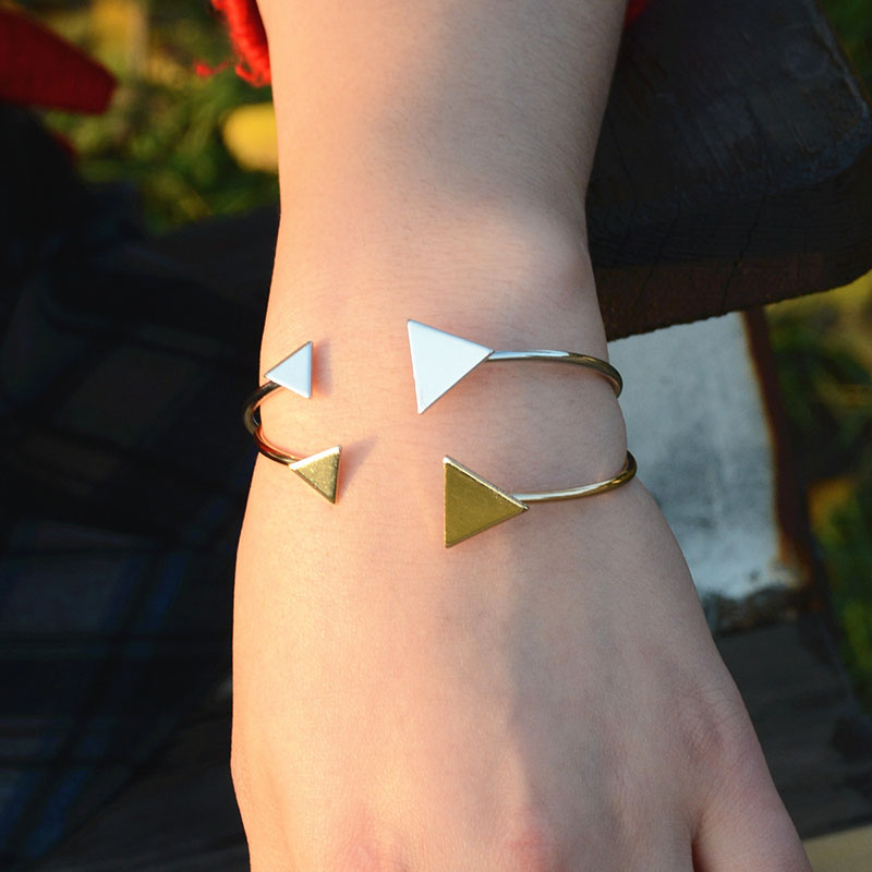 Fashion Charm Bangles Opening Adjustable Trend Geometric Triangle Metal Bracelet New Women
