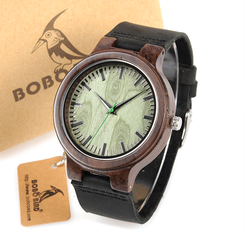 Topdudes.com - BOBO BIRD Wooden Watch Green Second Pointer Wood Face Watches for Men