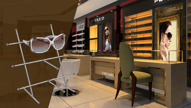Glasses holder rack shelf display stand showing desktop boutique store display showing fixture furniture accessories