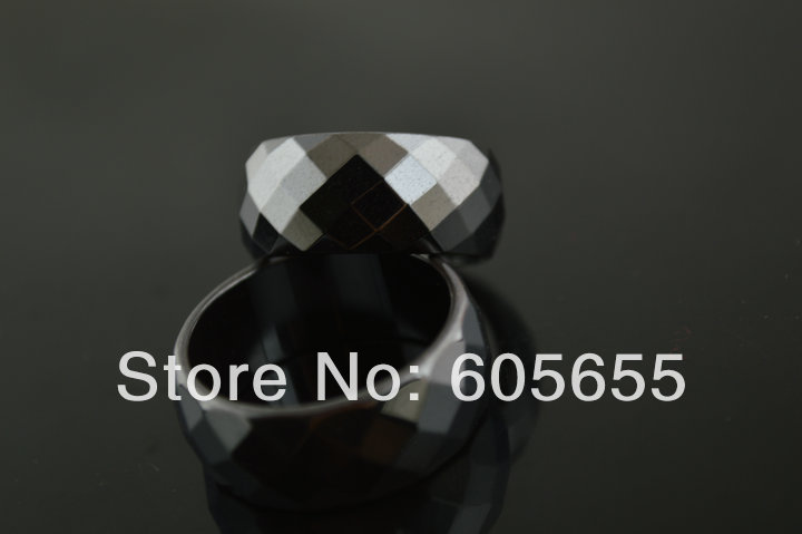 10mm Width Faceted Hematite Rings Mix Size 50 pc per Lot Fashion Jewelry Free Shipping