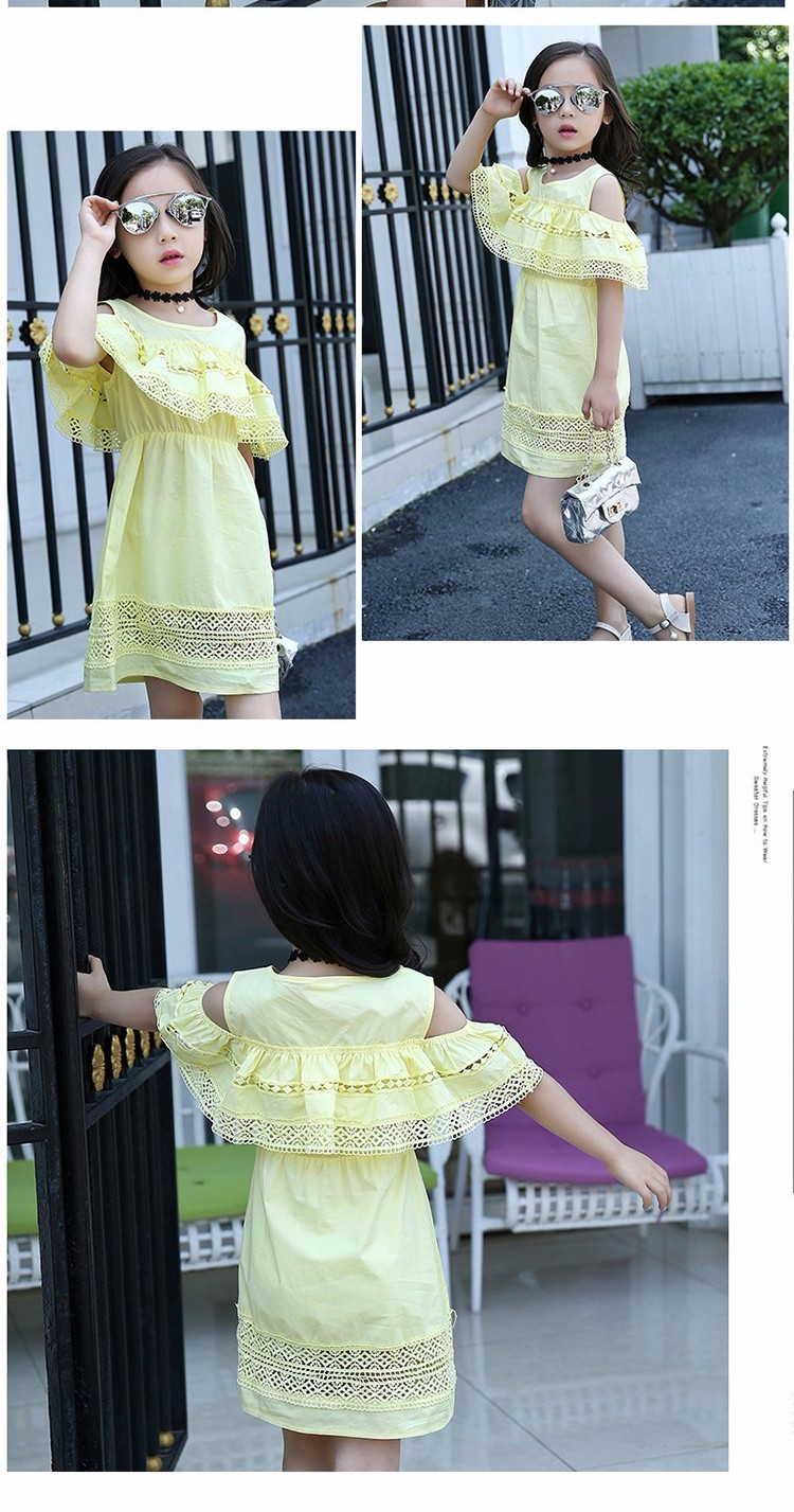 Kids Girls' Dress with Lace Summer 2018 New Kids Clothes for Girls Clothes Cotton Off Shoulder Dress White Pink Yellow Vestido 13