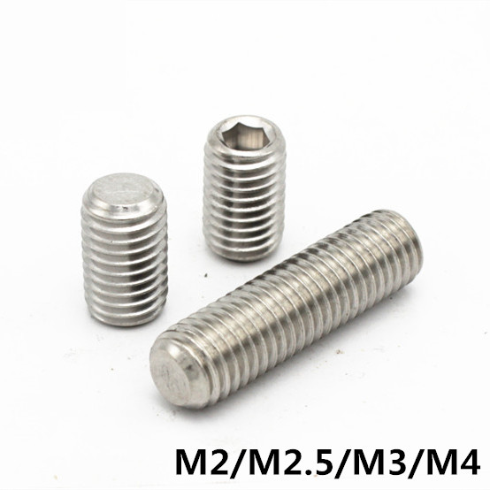 M2/M2.5/M3/M4 DIN913 GB77 Set Screw 304 Stainless Steel Inner Hex Hexagon Socket Plain Point End Grub Screws 304 stainless steel set screw black inner hexagon hex socket cup end m top thread headless screw bolt m3 3 4 5 6 8 10 12