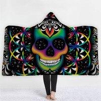 Halloween Skull Series Sherpa Fleece Hooded Blanket for Adults Mandala Dreamcatcher Sherpa Fleece Woman Throw Blanket Microfiber