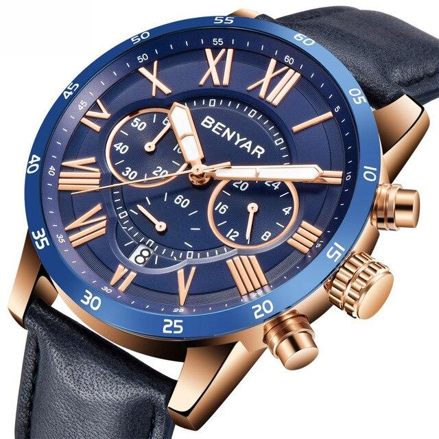 2018 BENYAR שעונים גברים יוקרה מותג קוורץ שעון אופנה הכרונוגרף ספורט Reloj Hombre שעון זכר שעה relogio Masculino
