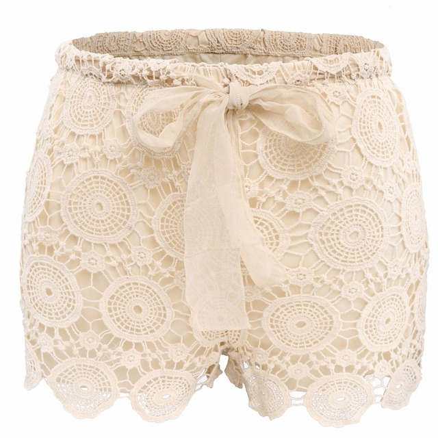 Rogesi 2016 New Fashion Shorts Bow Women's  Lace Elastic Waist Shorts