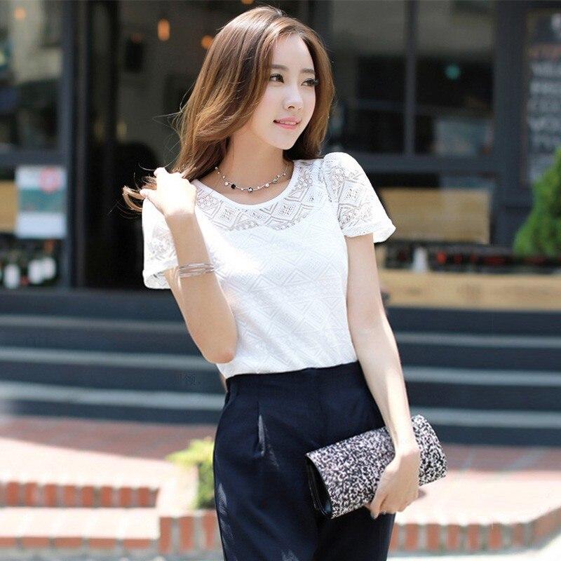 White Blouse Women Chiffon Blouse Lace Crochet Korean Female Shirts Ladies Blusas Tops Shirt 2019 New Women Clothing Slim Fit